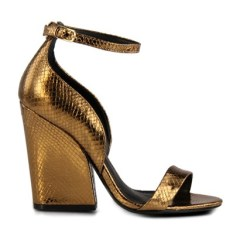 sandalia salto alto ouro velho