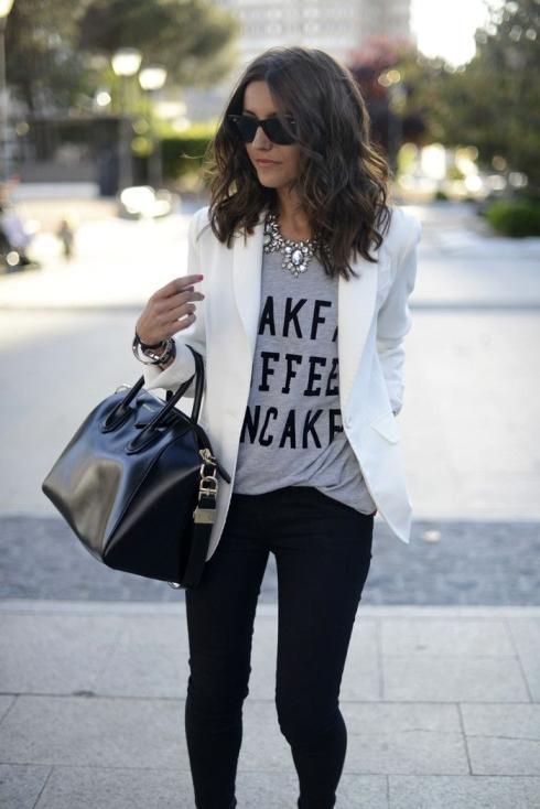 look com blazer branco para inspirar