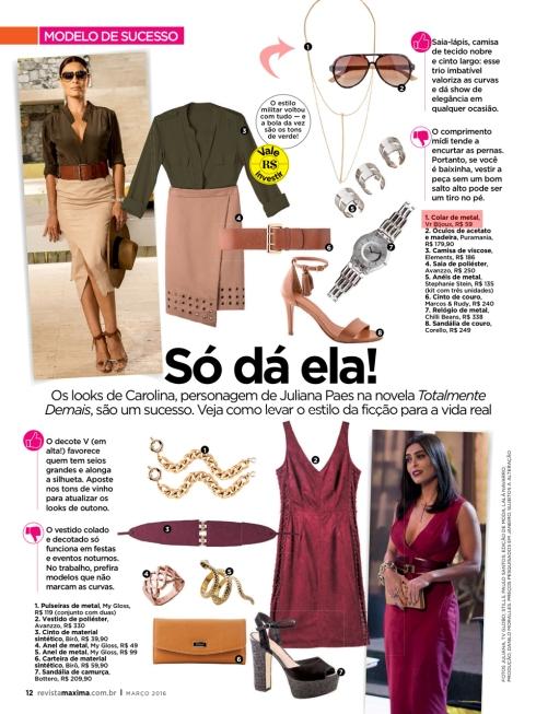 Revista Máxima Colar Carol Castilho Totalmente Demais Juliana Paes
